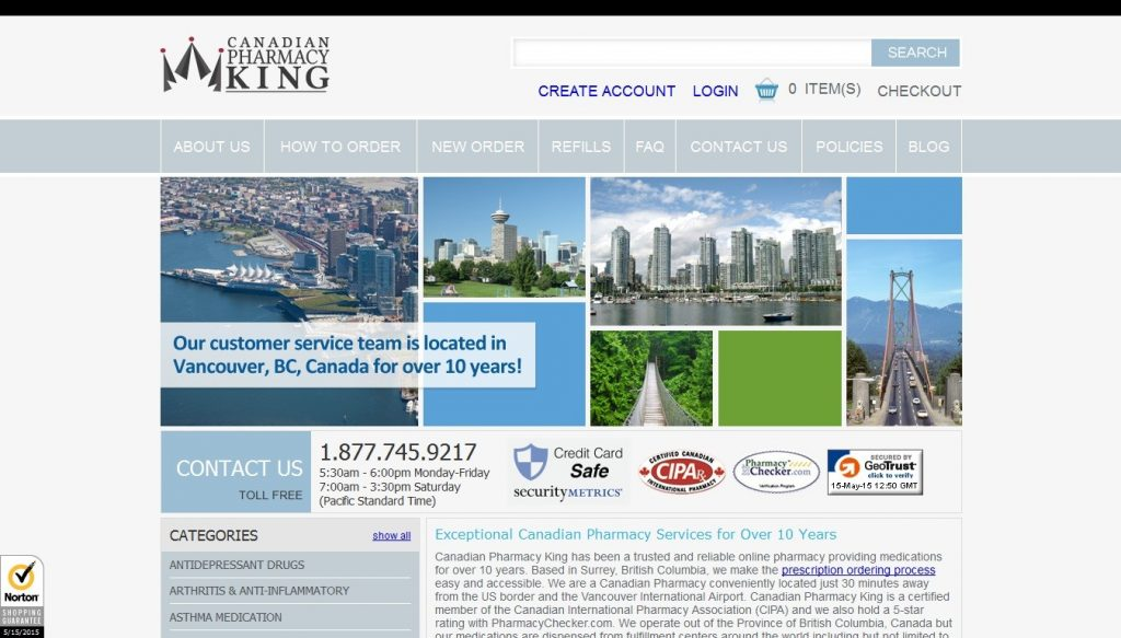 Canadian Pharmacy King Website Screenshot